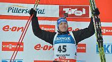 Andreas Birnbacher: So sehen Sieger aus, konkret der erste deutsche Biathlon-Sieger in diesem Winter.