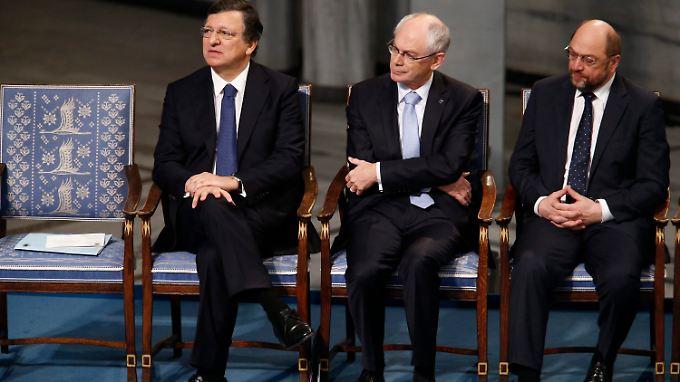 José Manuel Barroso, Herman Van Rompuy und Martin Schulz sitzen stellvertretend für 500 Millionen Europäer.