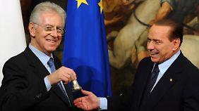 Die beiden werden wohl keine Freunde mehr: Monti (l.) und Berlusconi.