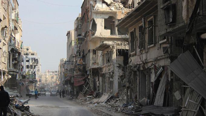 Douma bei Damaskus wurde durch die Kämpfe stark zerstört.