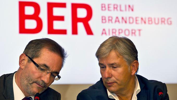 Tragen die Verantwortung im Airport-Desaster: Brandenburgs Ministerpräsident Platzeck und Berlins Regierender Bürgermeister Wowereit.