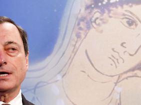 Faszinierende Anmut: Mario Draghi erläutert den Symbolgehalt der neuen Europa-Serie.