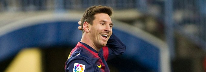Da lacht er: Lionel Messi, FC Barcelona.