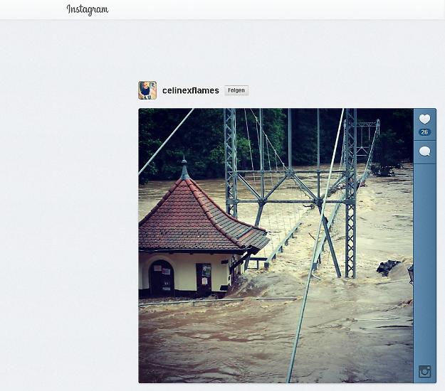 Im sozialen Foto-Netzwerk Instagram teilen Menschen meistens amüsante, kunstvolle oder einfach nur hübsche Bilder. In diesen Tagen überwiegen aber die tiefen Eindrücke, die ein Hochwasser hinterlässt, das man mit Worten kaum beschreiben kann.