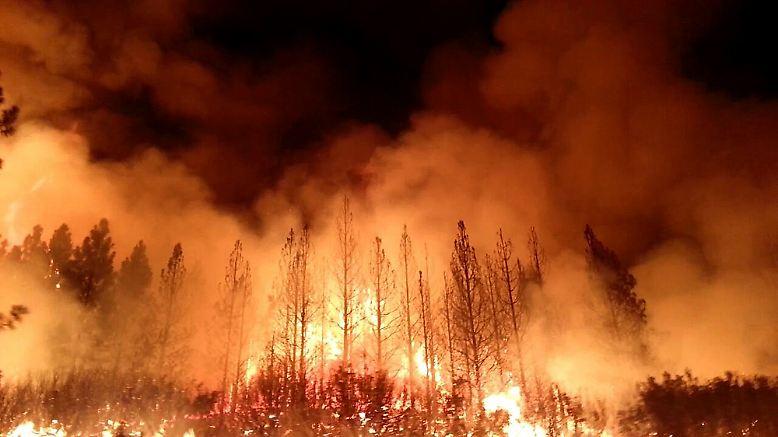 Die Flammen schlagen lichterloh in Kaliforniens Sierra Nevada.
