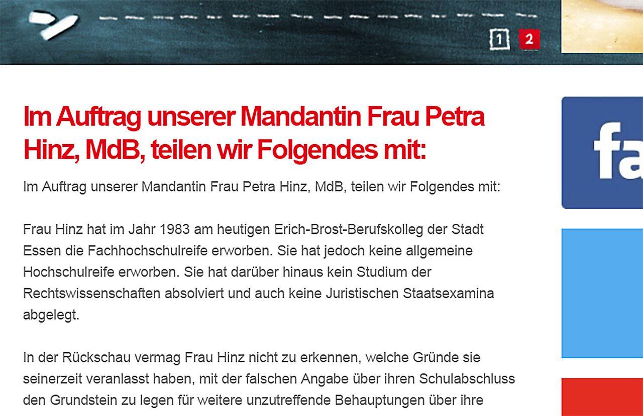 Schummeln im Lebenslauf: Die verlorene Ehre der Petra Hinz - n-tv.de