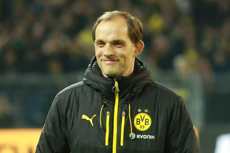 """""""Für dieses Gefühl bin ich hier Trainer geworden. (…) Weil du eine Mannschaft hast, die dann trotzdem gewinnt. Das ist manchmal herrlich. Es fühlt sich großartig an."""" Dortmunds Coach Thomas Tuchel erfreut sich des duseligen ..."""