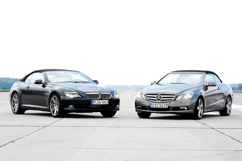 Der eine ist ein Newcomer, der andere gehört zum gehobenen Stand seiner Klasse. Der mit dem Stern macht sich klein, der mit dem blau-weißen Emblem trumpft groß auf. Wir vergleichen das neue E-Klasse-Cabrio mit dem BMW 650i.