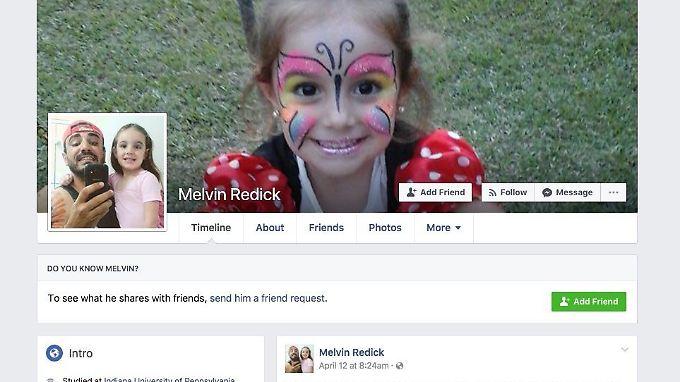 Das Facebook-Profil von Melvin Redick nutzt Bilder von Charles David Costacurta.