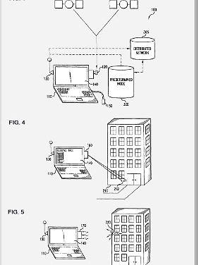 Die Zeichnung von Patent RE42,927 sieht harmlos aus, beschreibt aber eine grundlegende Technik für ortsbasierte Informationen.